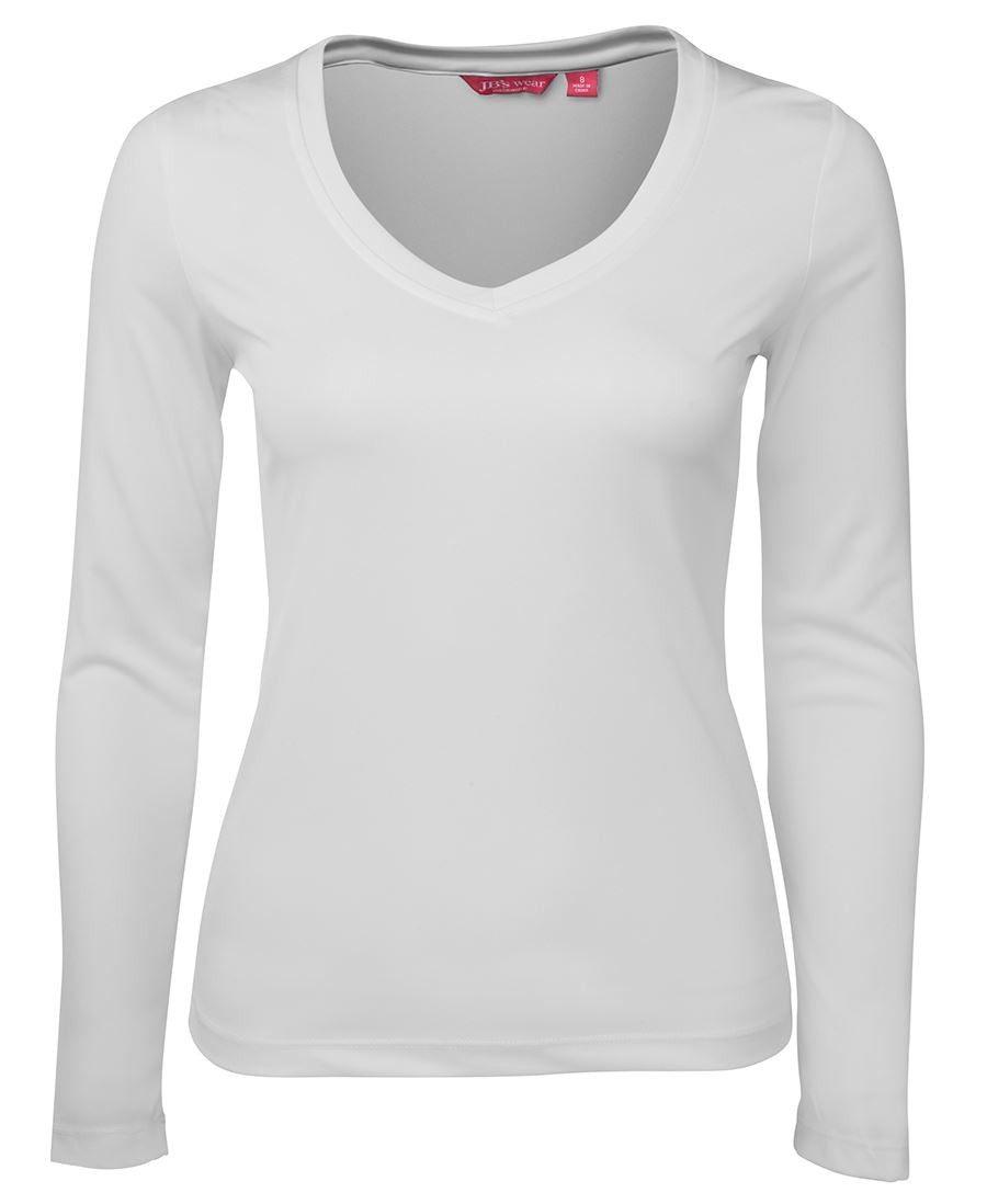 JB's Ladies Long Sleeve V Neck Slinky Tee
