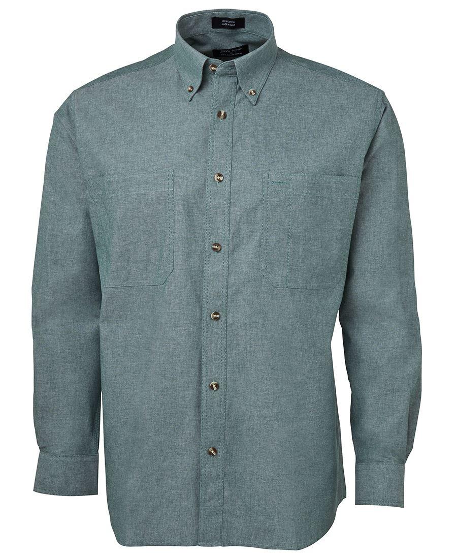 JB's Long Sleeves Cotton Chambray Shirt Green Stitch