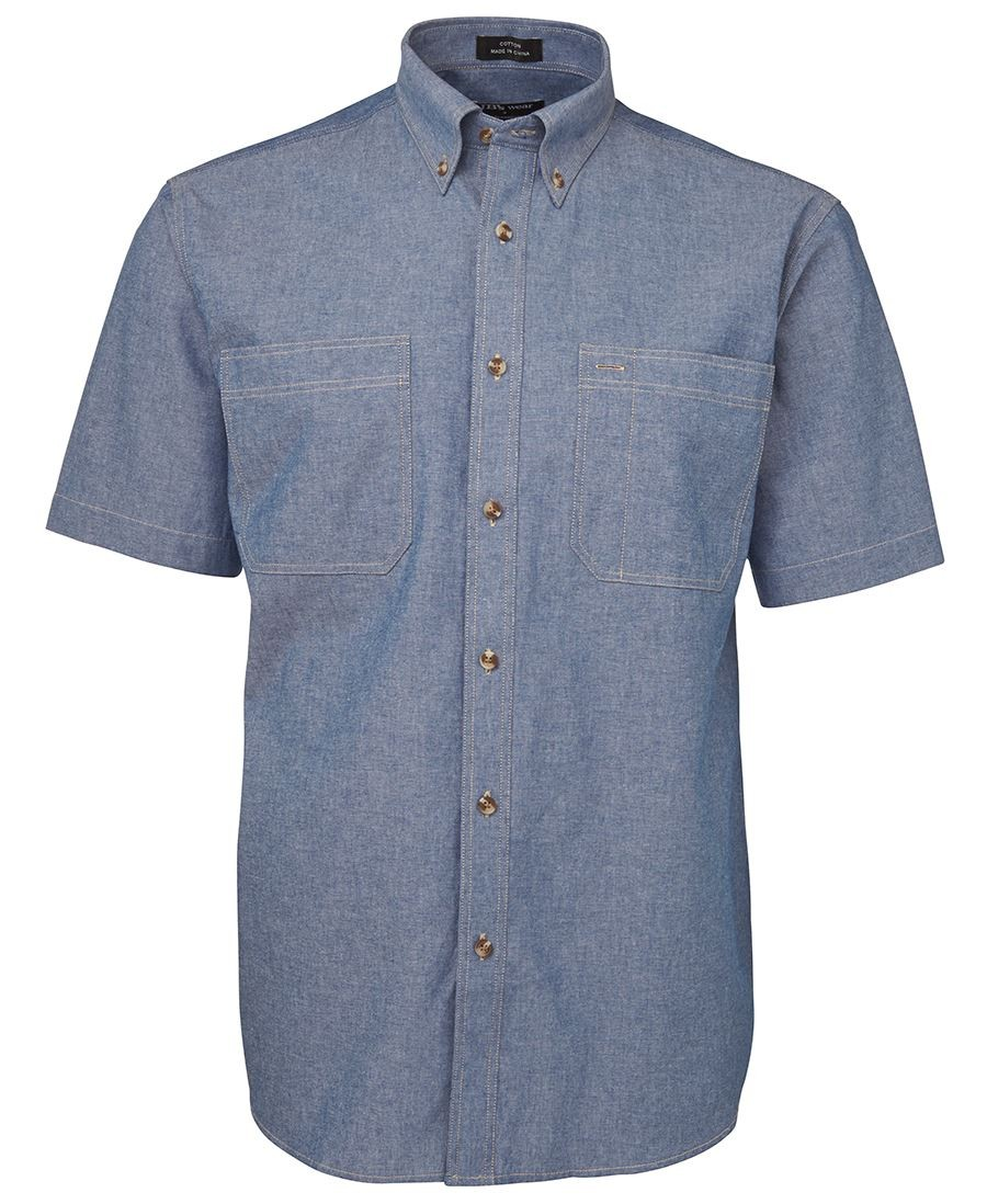 JB's Short Sleeves Cotton Chambray Shirt Tan Stitch