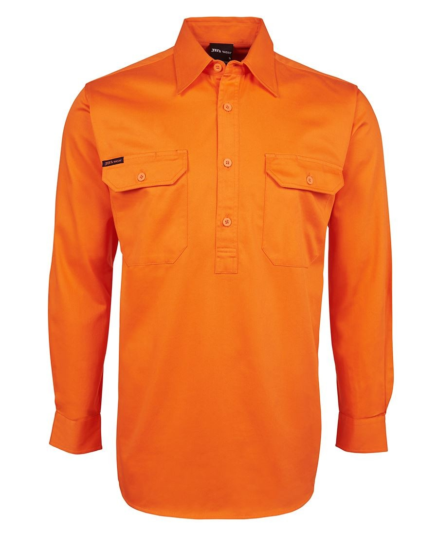 JB's Hi Vis L/S 190g Close Front Shirt