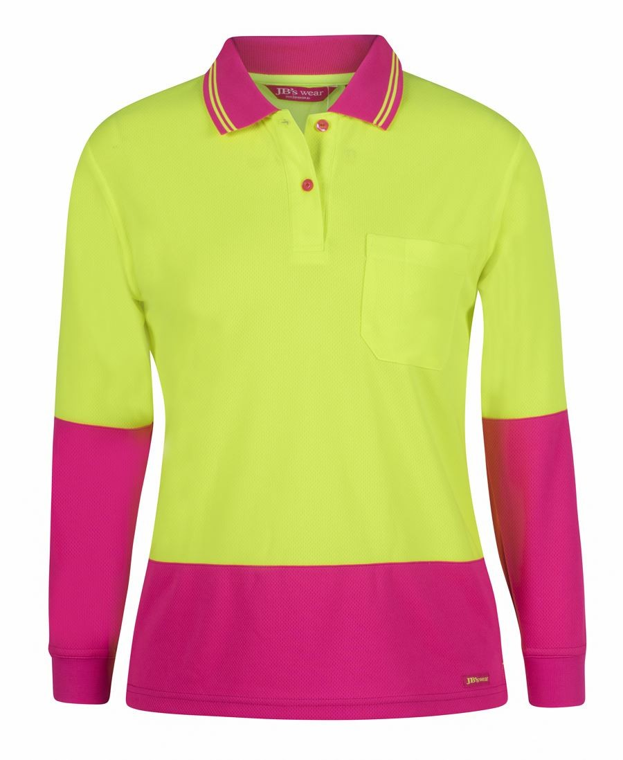 JB's Ladies Hi Vis L/S Comfort Polo