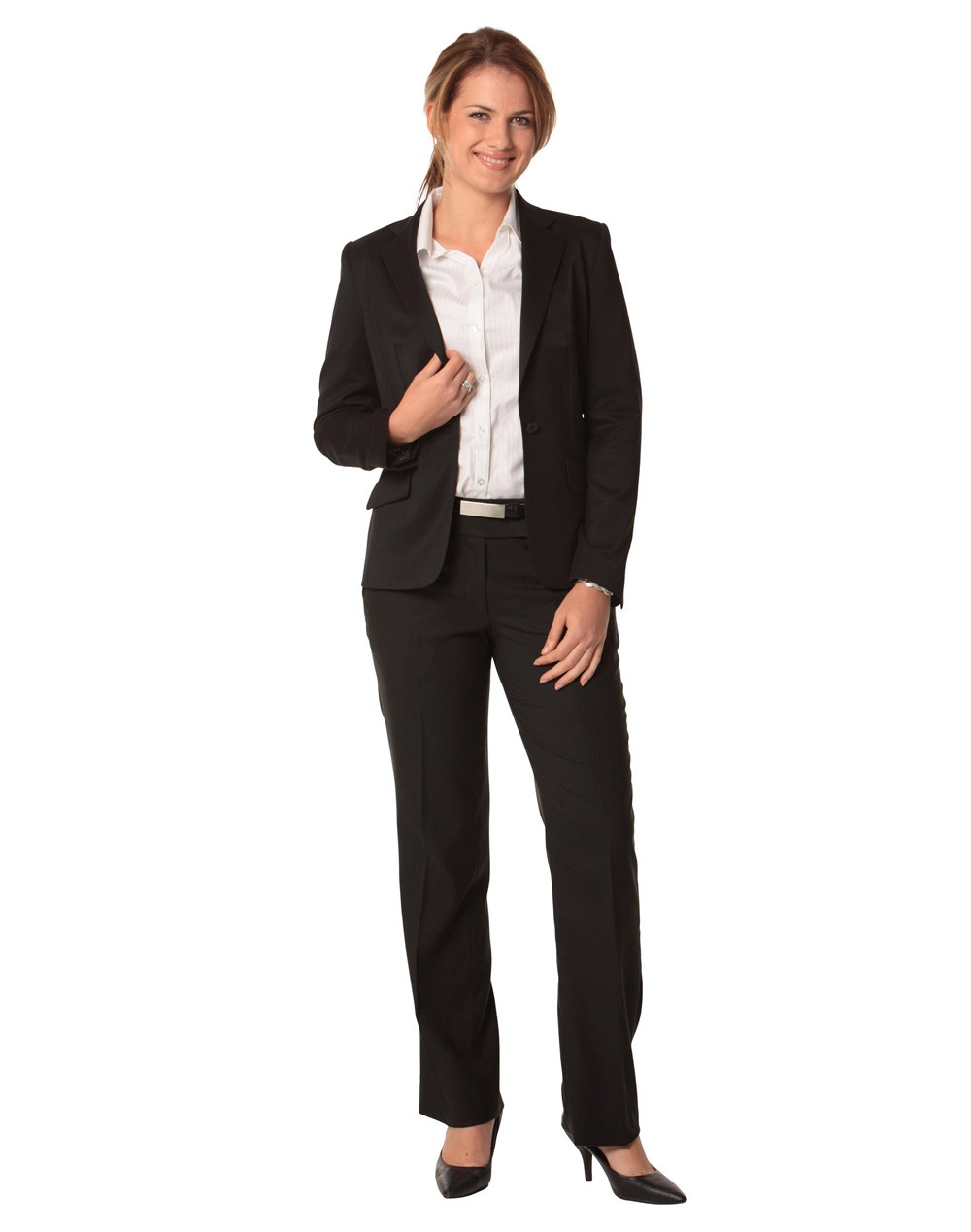 Winning Spirit Ladies' Poly/Viscose Stretch One Button Cropped Jacket
