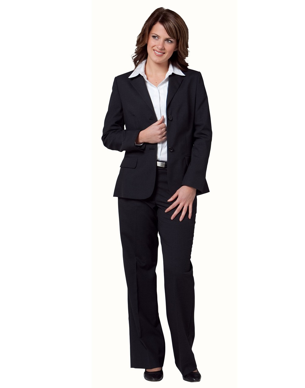 Winning Spirit Ladies' Poly/Viscose Stretch Two Buttons Mid Length Jacket