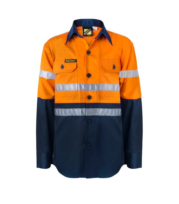 WORKCRAFT - KIDS HI VIS TWO TONE LONG SLEEVE SHIRT WITH 3M REFLECTIVE TAPE