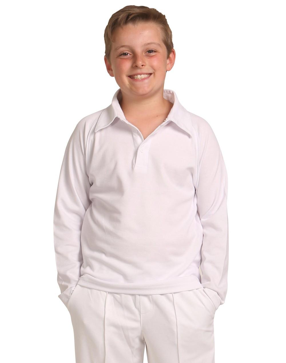 Winning Spirit Kids' TrueDry® Mesh Knit Short Sleeve Cricket Long Sleeve Polo