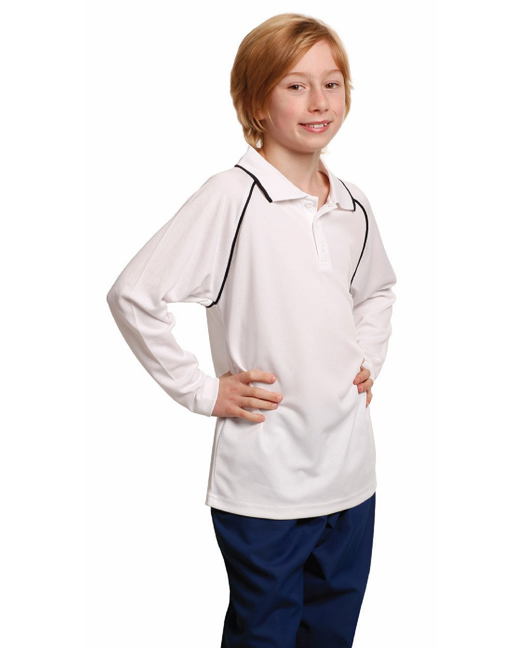 Winning Spirit Kids' CoolDry® Long Sleeve Contrast Colour Polo