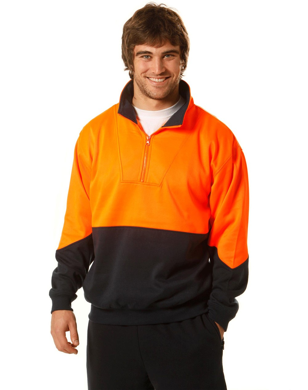 Winning Spirit Men's High Visibility Long Sleeve Fleecy Sweat With Collar