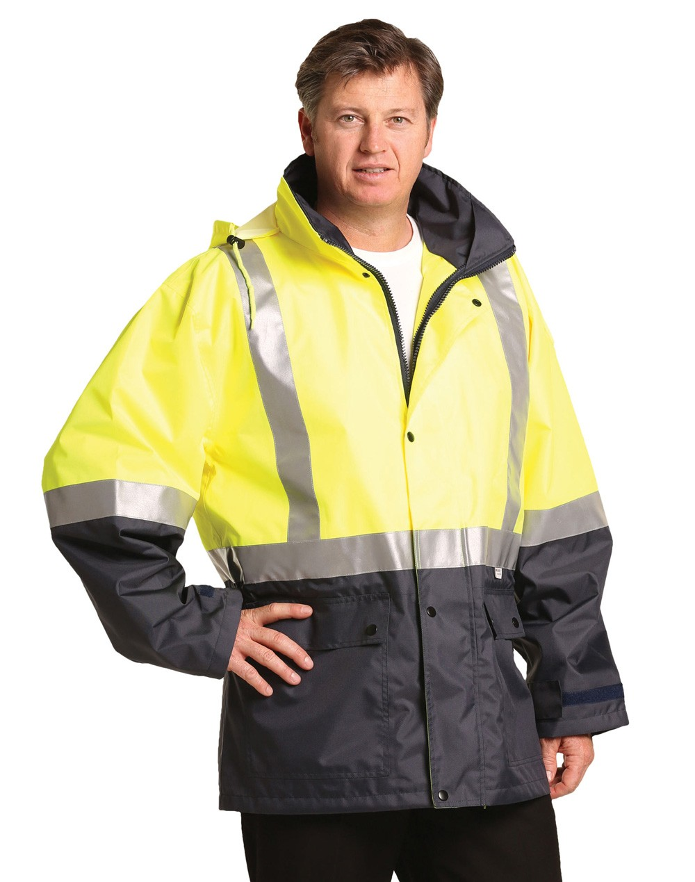 Winning Spirit Hi-Vis Two Tone Rain Proof Safety Jacket With Mesh Lining and 3M Scotchlite Reflective