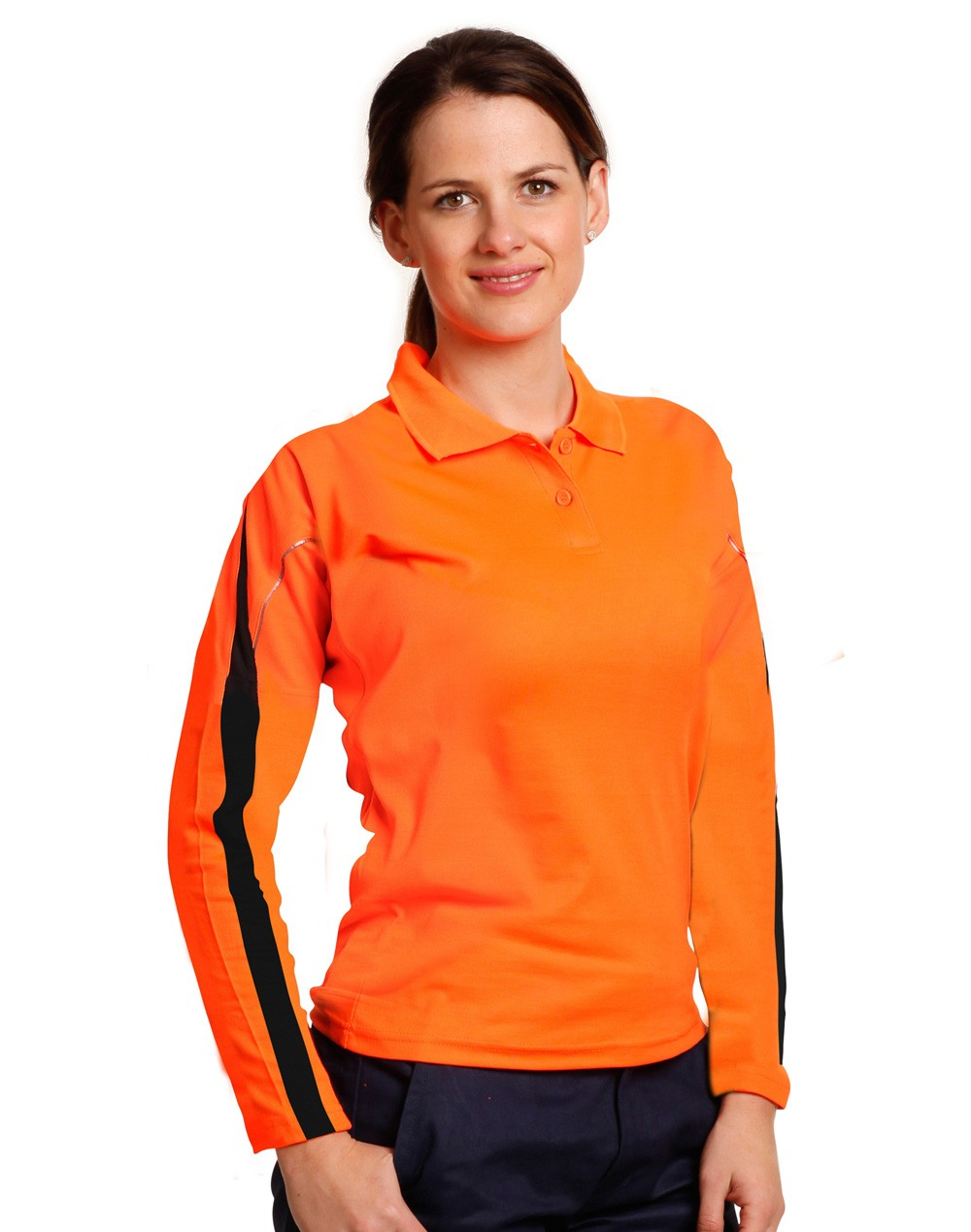 Winning Spirit Ladies' TrueDry® Hi-Vis Long Sleeve Polo with Reflective Piping