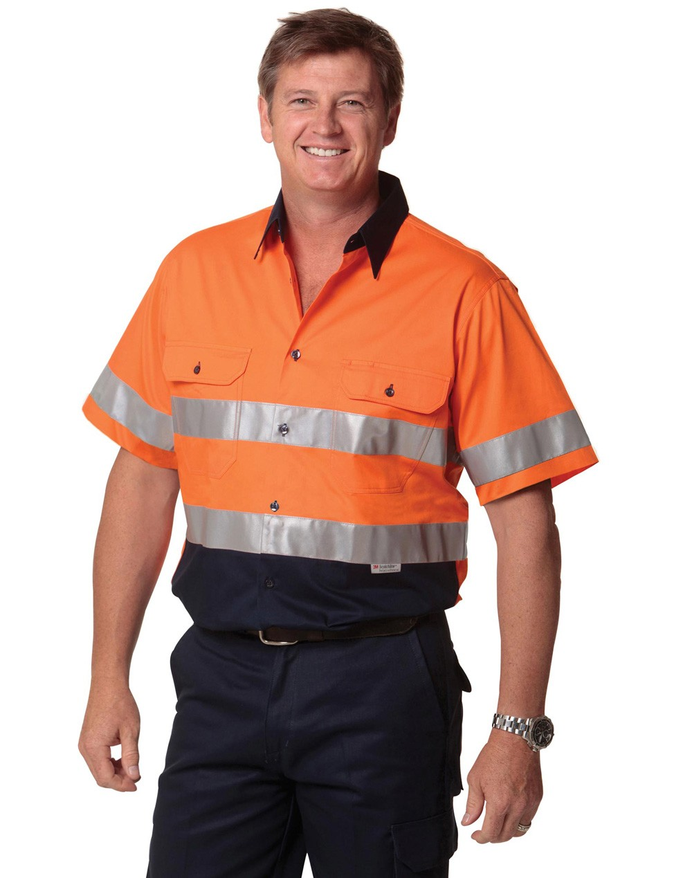 Winning Spirit Men's High Visibility Cool-Breeze Cotton Twill Short Sleeve Safety Shirt With Reflective 3M Tapes