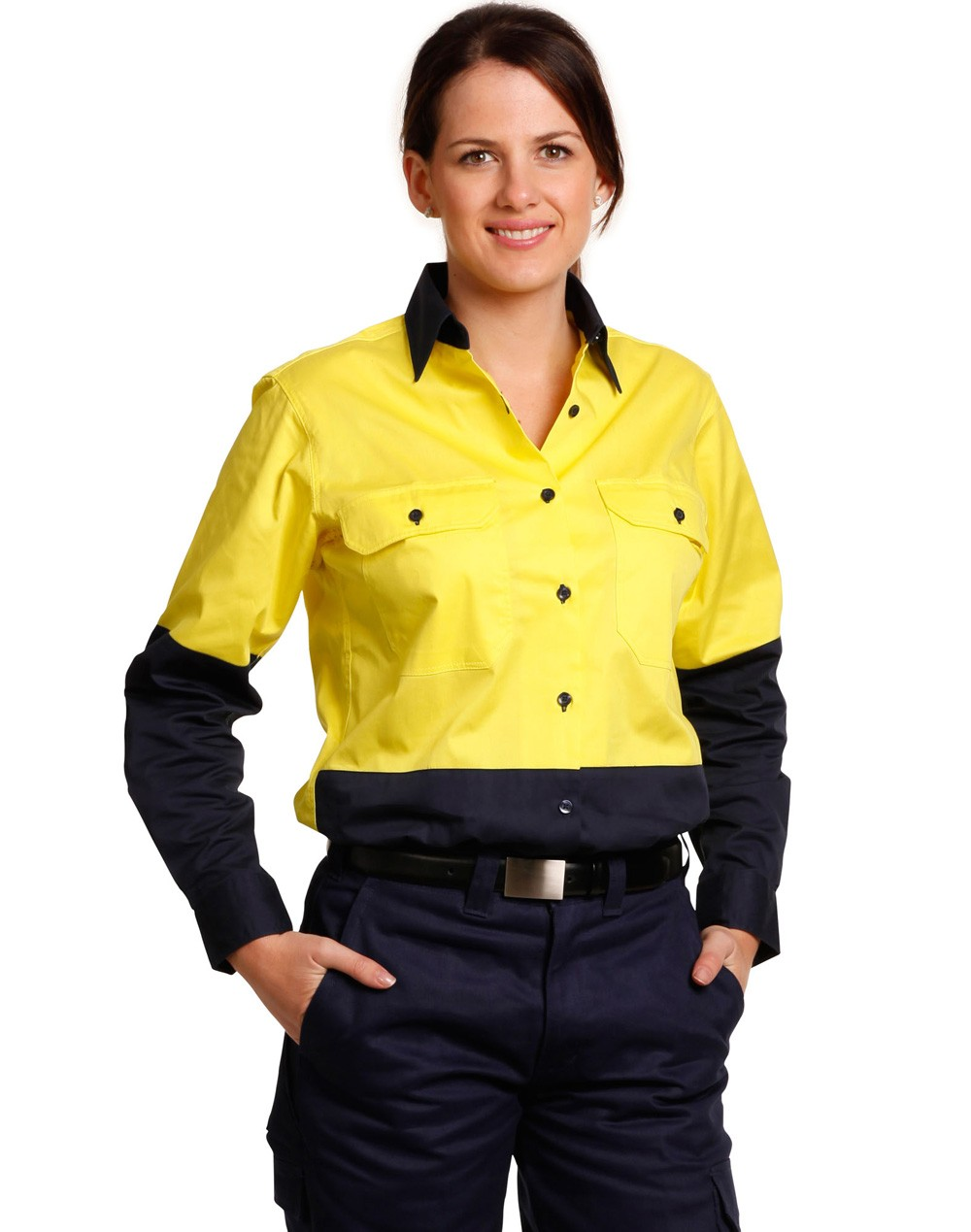 Winning Spirit Ladies' High Visibility Cool-Breeze Cotton Twill Safety Shirt