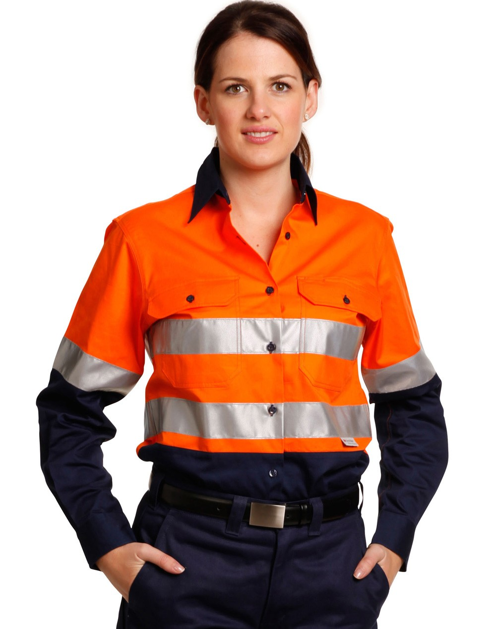 Winning Spirit Ladies' High Visibility Cool-Breeze Cotton Twill Safety Shirt with 3M Tapes