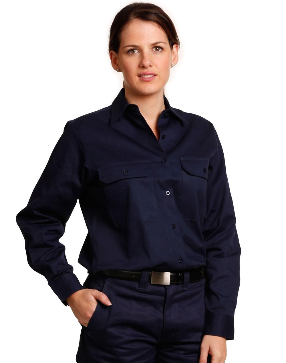 Winning Spirit Women's Cotton Drill Work Shirt