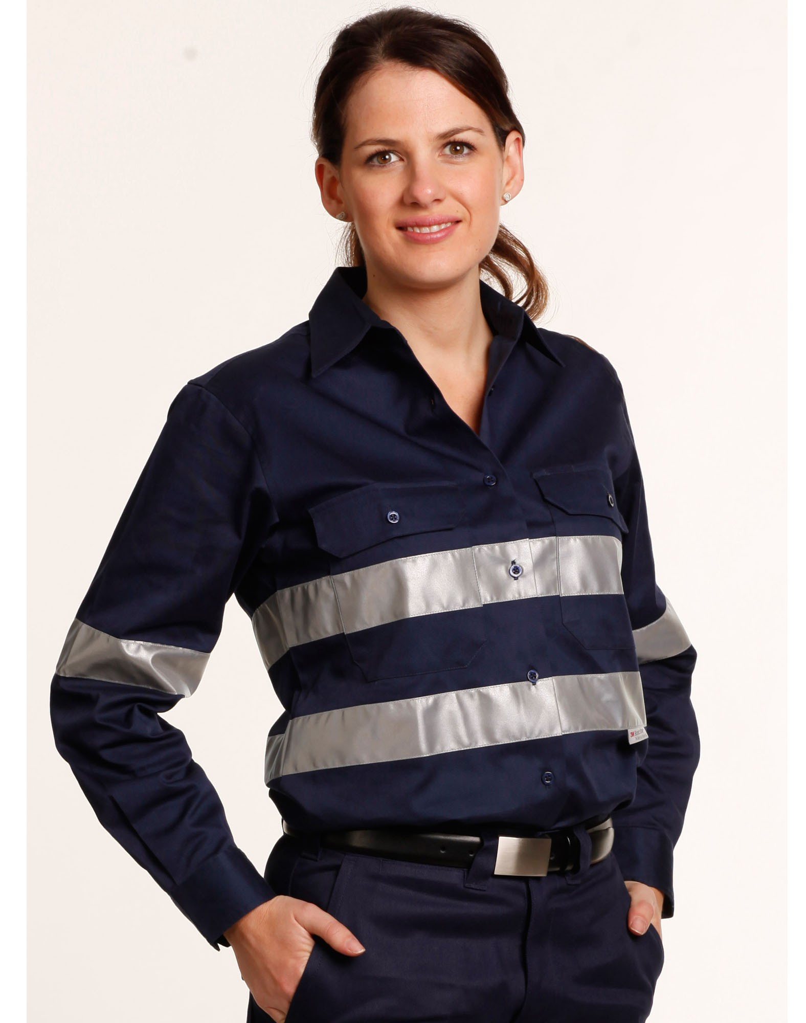 Winning Spirit Women's Cotton Drill Work Shirt With 3m Tapes
