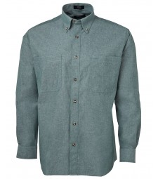 JB's Long Sleeves Cotton Chambray Shirt Green Stitch