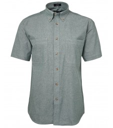 JB's Short Sleeves Cotton Chambray Shirt Green Stitch