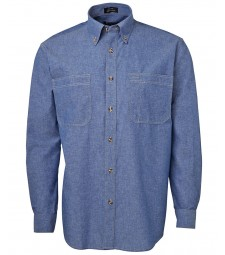 Jb's Long Sleeves Cotton Chambray Shirt Tan Stitch