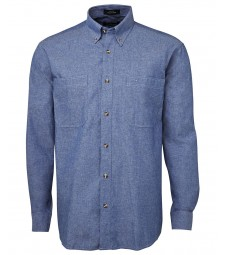 JB's Long Sleeve Cotton Chambray Shirt Blue Stitch