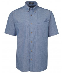 JB's Short Sleeves Cotton Chambray Shirt Blue Stitch