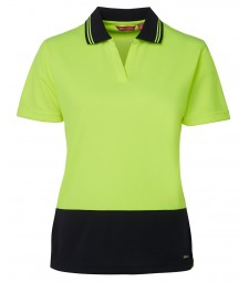 JB's Hi Vis Ladies S/S Non Button Polo