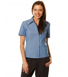 Winning Spirit Ladies' Wrinkle Free Short Sleeve Chambray Shirts
