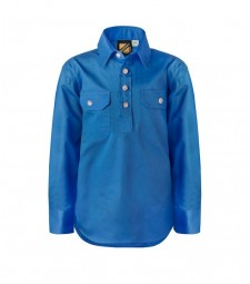 Workcraft Kids Lightweight Long Sleeve Half Placket Cotton Drill Shirt with Contrast Buttons