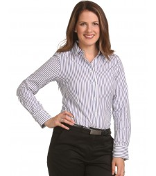 Winning Spirit Ladies' Sateen Stripe Long Sleeve Shirt