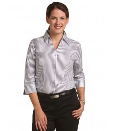 Winning Spirit Ladies' Sateen Stripe 3/4 Sleeve Shirt
