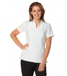 Winning Spirit Ladies' Full Zip Front Short Sleeve Tunic