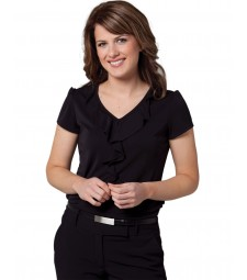 Winning Spirit Ladies'  Ruffle Front Blouse