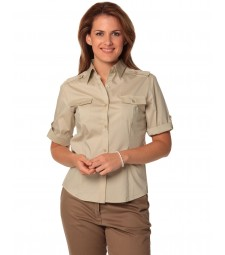 Winning Spirit Ladies' Short Sleeve Military Shirt