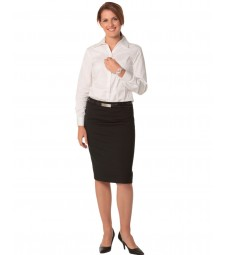 Winning Spirit Ladies' Wool Stretch Mid Length Lined Pencil Skirt