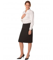 Winning Spirit Ladies' Poly/Viscose Stretch Stripe Mid Length Lined Pencil Skirt