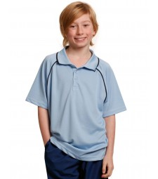 Winning Spirit Kids' CoolDry® Raglan Short Sleeve Contrast Polo