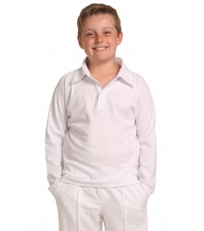 Winning Spirit Kids' TrueDry® Mesh Knit Short Sleeve Cricket Long Sleeve Polo