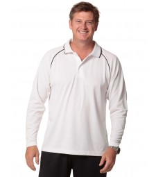 Winning Spirit Men's CoolDry® Long Sleeve Contrast Colour Polo