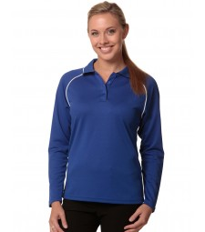 Winning Spirit Ladies' CoolDry® Long Sleeve Contrast Colour Polo