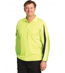 Winnig Spirit Men's TrueDry® Hi-Vis Long Sleeve Polo with Reflective Piping