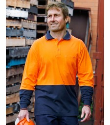 Winning Spirit Hi-Vis Cotton Two Tone Long Sleeve Safety Polo