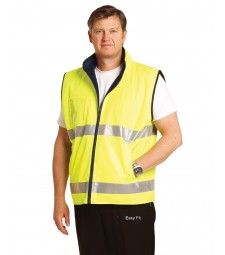Winning Spirit Hi-Vis Reversible Mandarin Collar Safety Vest With 3M Tapes