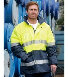 Winning Spirit Hi-Vis Long Line Safety Jacket With Polar Fleece Lining and 3M Reflective Tapes