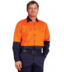 Winning Spirit Men's High Visibility Cool-Breeze Cotton Twill Safety Shirt