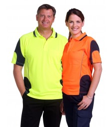 Winning Spirit Unisex CoolDry® Hi-Vis Mini Waffle Safety Polo