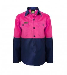 Workcraft Girls Lightweight Hi Vis Two Tone Long Sleeve Shirt
