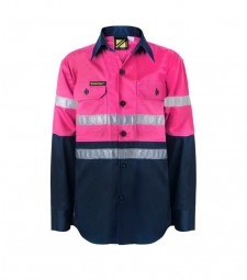Workcraft - Girls Hi Vis Two Tone Long Sleeve Shirt With 3m Reflective Tape